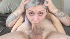 HD Deep Throat Nailing Jasper Blue Mouth Cream Pie