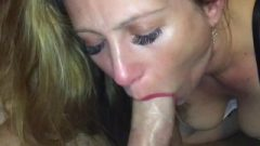 Wife Greedily Blows On Throbbing Dick And Gets A Cute Mouthful